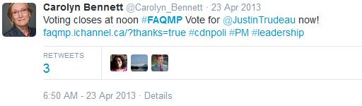Twit - Carolyn Bennit RT Trudeau